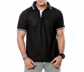 Black Patterned Polo