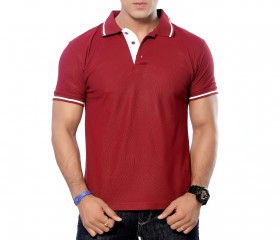 Maroon Patterned Polo