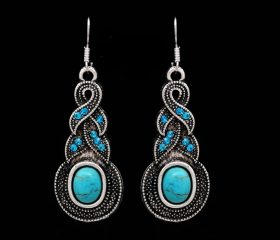 Turquoise Crystal Chain W/ Earrings