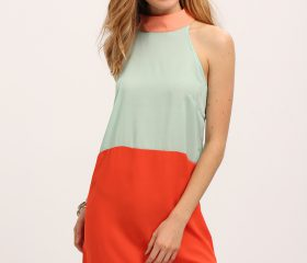 Color Block Mock Neck Dress