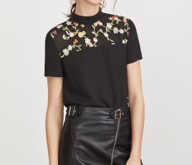 Embroidered Yoke Tie Back Top