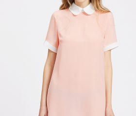 Peter Pan Collar And Cuff Shift Dress