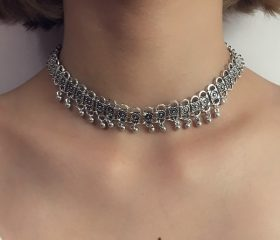 Antique Silver Plated Bell Choker