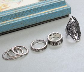 Flower Carving Antique Silver Plated Ring (8pcs)