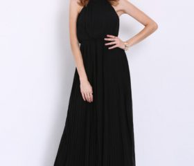 Convertible Sleeveless Halter Pleated Maxi Dress