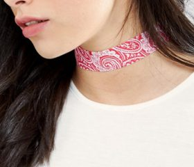 Printed Flower Ribbon Choker