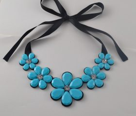 Classy Statement Necklace w/ Ribbon